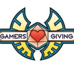Gamers Giving logo: heart, inscribed on a d20, with angelic wings
